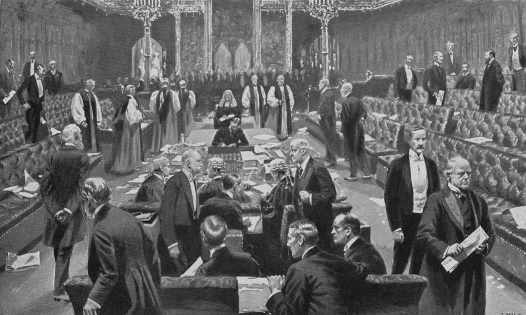 Parliament Act passes the House of Lords 1911 - public domain image from https://en.wikipedia.org/wiki/Parliament_Act_1911#/media/File:Passing_of_the_Parliament_Bill,_1911_-_Project_Gutenberg_eText_19609.jpg